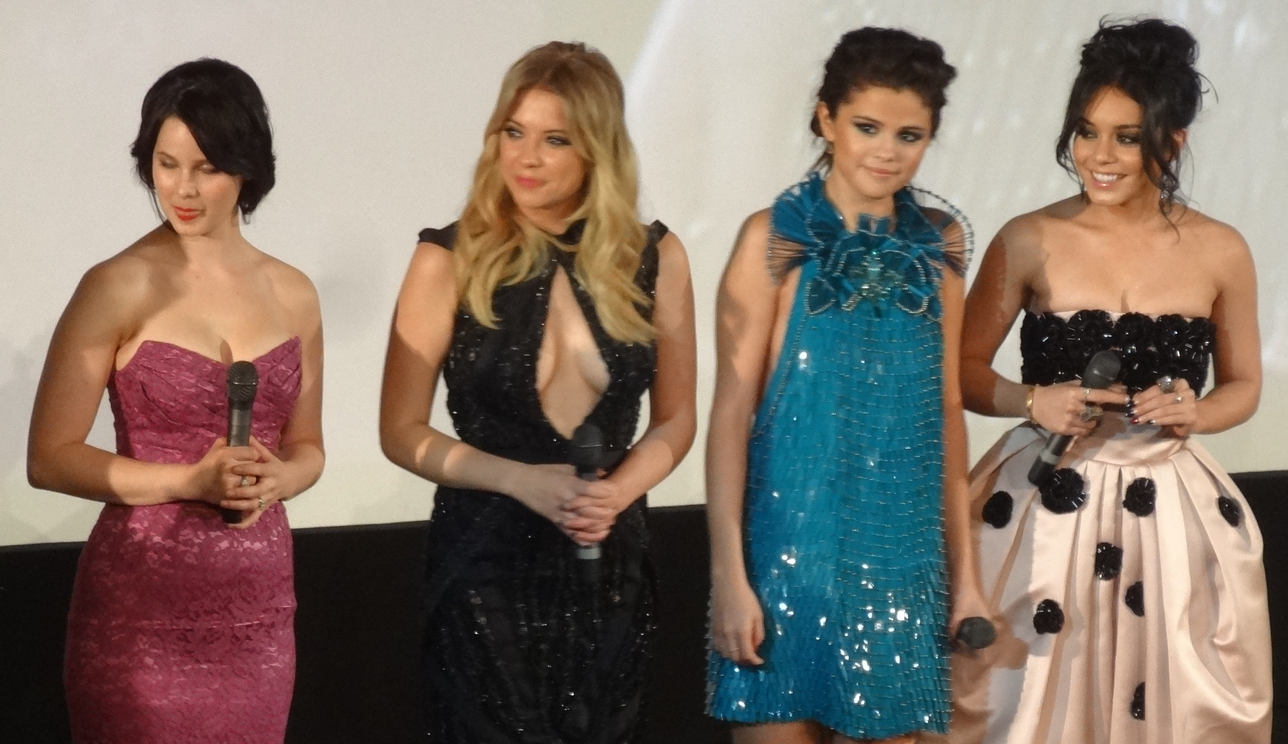 A part of the main cast at the film's premiere in Paris in February 2013: Rachel Korine, Ashley Benson, Selena Gomez and Vanessa Hudgens