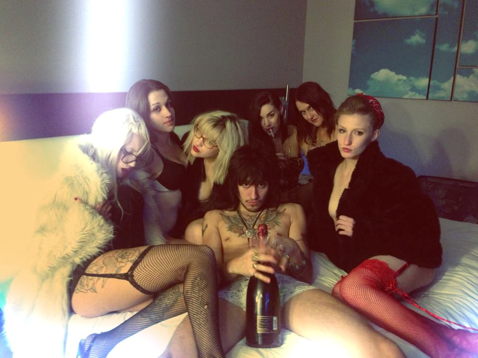 rockstar surrounded with hoes