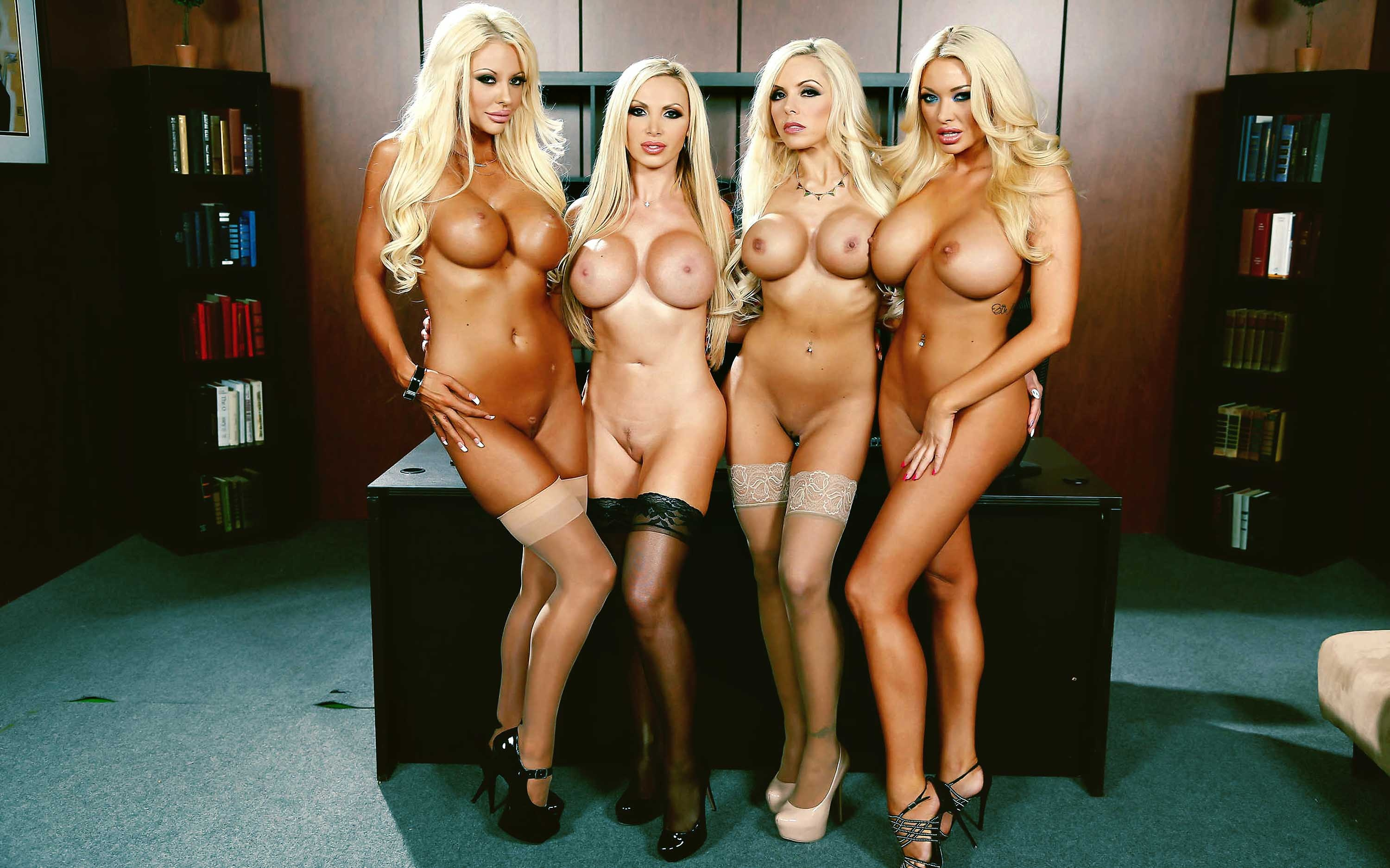 Courtney Taylor, Nikki Benz, Nina Elle, Summer Brielle office 4 blondes orgy 08