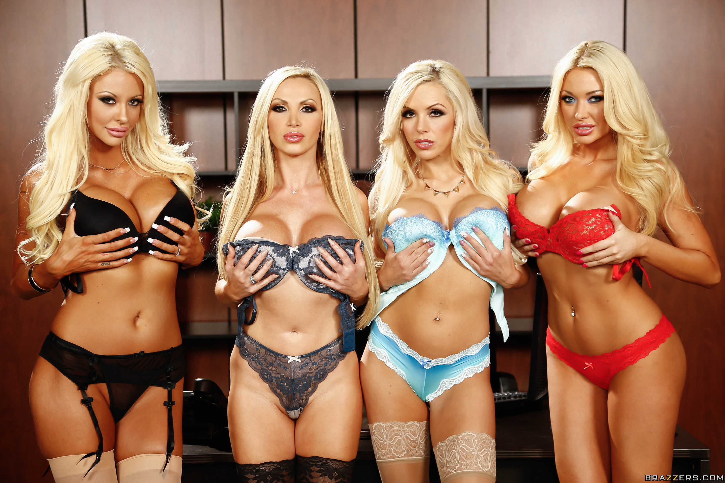 Courtney Taylor, Nikki Benz, Nina Elle, Summer Brielle office 4 blondes orgy 10